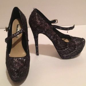 H by Halston silver lace heels